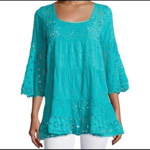 Johnny Was Eyelet Bell Sleeves Tiered Tunic Top
